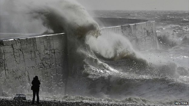 seawall in storm